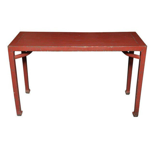 Antique Linen Covered Red Lacquered Elmwood Console Table, 19th Century China For Sale - Image 11 of 11