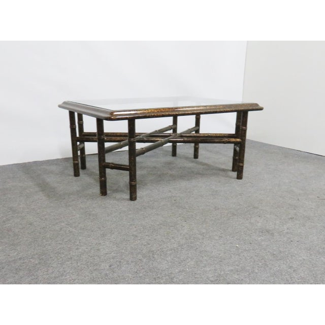 Glass John Widdicomb Faux Bamboo Coffee Table For Sale - Image 7 of 7