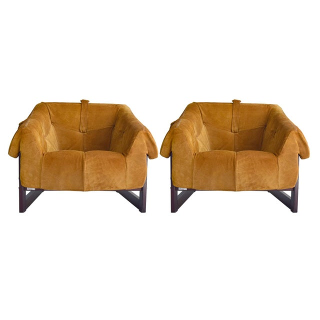 Percival Lafer Brazilian Rosewood & Suede Lounge Chairs - A Pair For Sale - Image 11 of 11