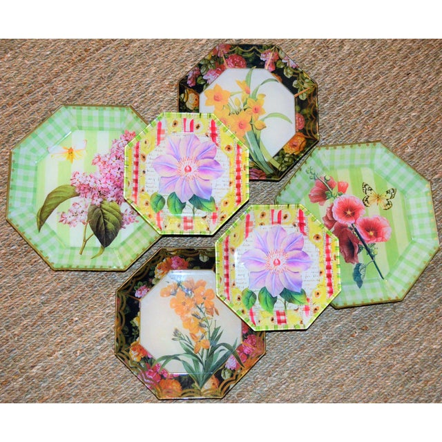 Green Botanical & Butterfly Decoupage Plates - Set of 6 For Sale - Image 8 of 10