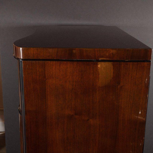 Art Deco Art Deco Machine Age Bookmatched Mahogany & Black Lacquer Streamlined High Chest For Sale - Image 3 of 13