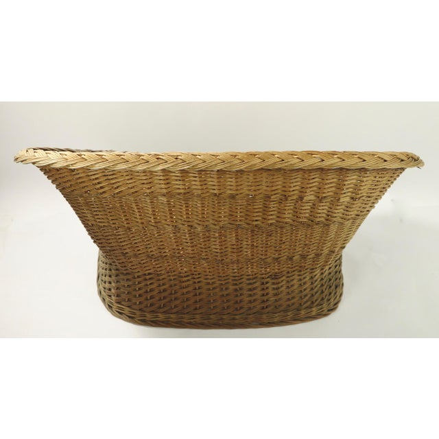 Mod Bar Harbor Style Woven Wicker Settee For Sale - Image 12 of 13