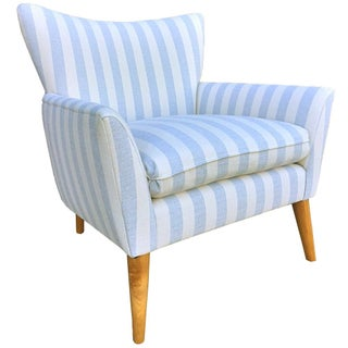 Mid-Century Chair in Blue & Ivory Stripe