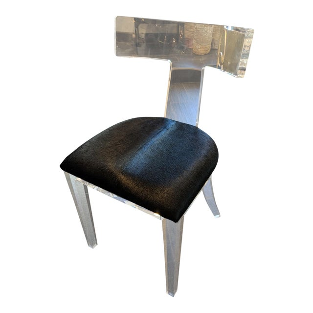 Contemporary Black Cowhide and Lucite Side Chair For Sale