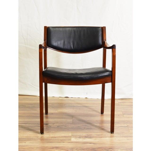 Vintage Teak Black Leather Gunlocke Chair For Sale - Image 5 of 10