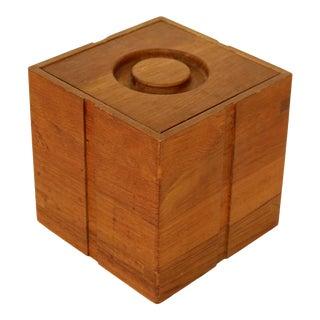 Mid Century Modern Cubist Kalmar Teak Ice Bucket For Sale