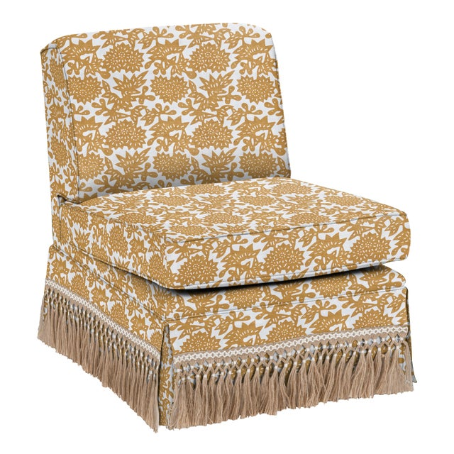 Not Yet Made - Made To Order LuRu Home for Casa Cosima Skirted Slipper Chair, Flower, Cumin For Sale - Image 5 of 5