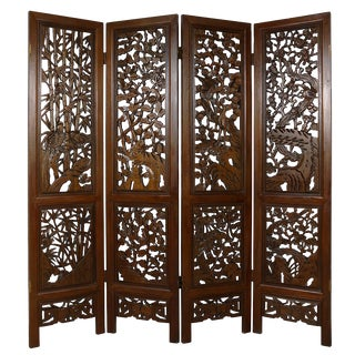 Early 20th Century Chinese Antique Carved Teak Wood Panels Screen/Room Divider For Sale