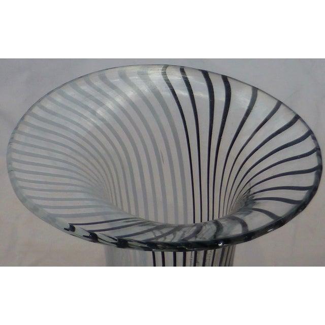 Murano Glass Black & White Striped Vase by Venini For Sale - Image 5 of 7