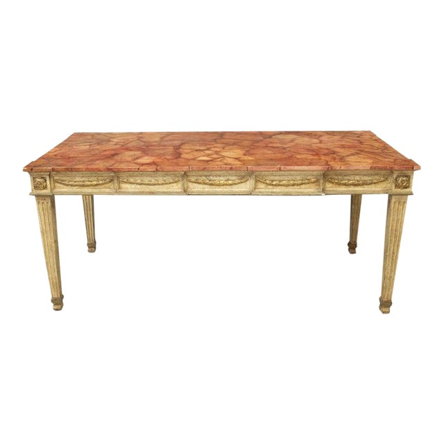 Italian Neoclassical Faux Marble Dining Table For Sale