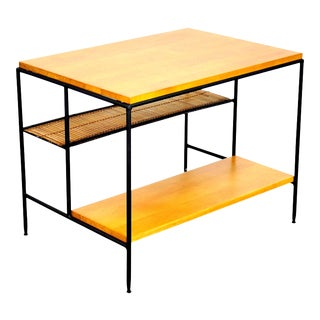 Paul McCobb Iron, Maple and Bamboo Side Table For Sale