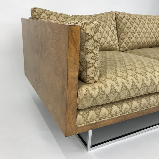 1960s 2 Seater Olive Burl Sofa With Chrome Base Designed by Milo Baughman for Thayer Coggin For Sale - Image 5 of 13