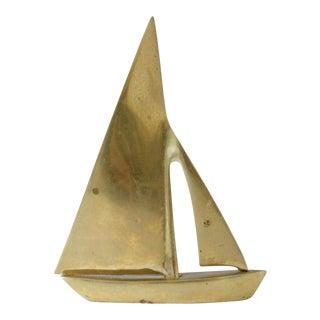 Vintage Brass Sailboat Figurine Paperweight Mid Century Home Decor