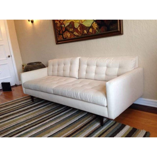 Crate & Barrel Contemporary White Tufted Sofa - Image 3 of 7