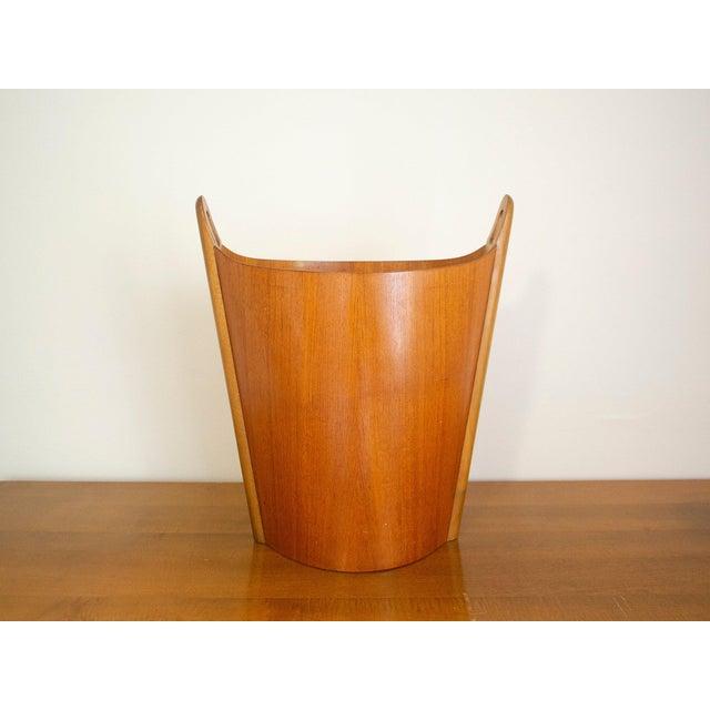 Wood 1960s Vintage P.S. Heggen Norway Teak Wastebasket For Sale - Image 7 of 11