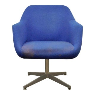 Vintage Cole Steel Mid-Century Modern Propeller Base Blue Tulip Office Desk Arm Chair