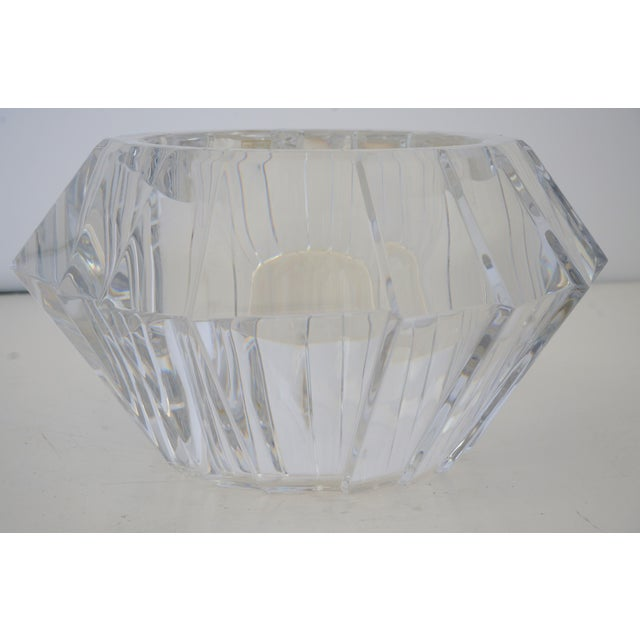Mid 20th Century Mid-Century Swedish Modern Orrefors Crystal Faceted Bowl For Sale - Image 5 of 12