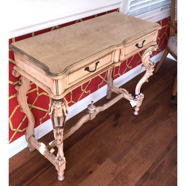 Antique Carved Italian Bleached Mahogany Venetian Figural Console Table For Sale - Image 4 of 5