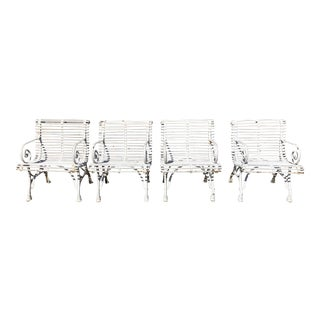 French Saint Sauveur Arras Iron Garden Chairs, Set of 4