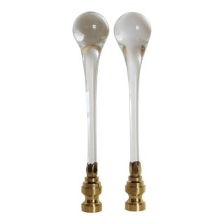 Crystal Clear Blown Glass Murano Finials, by C. Damien Fox - a Pair For Sale