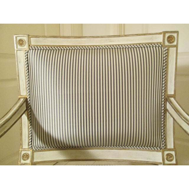 Textile Neoclassical Armchair in Striped Silk For Sale - Image 7 of 11