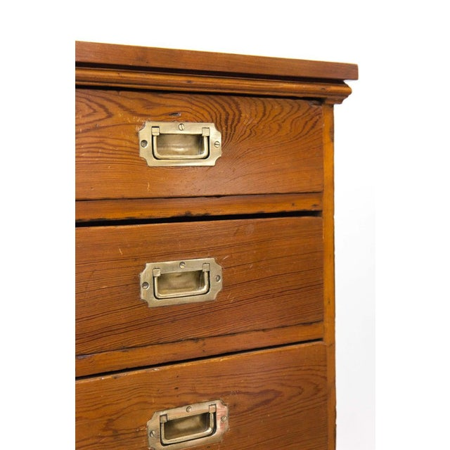 Mid 19th Century Mid 19th Century English Heart Pine Campaign Chest For Sale - Image 5 of 6