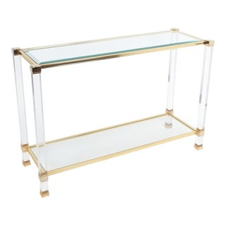 Lucite and Brass Signed Console Table by Pierre Vandel, Paris, 1970 For Sale