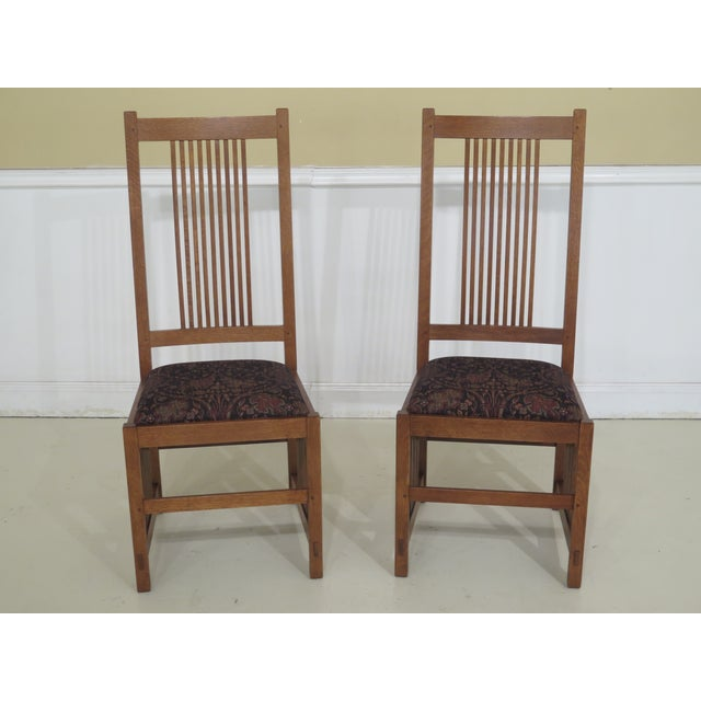 Set Of 6 STICKLEY Mission Oak Arts & Crafts Dining Chairs Age: C.2010 Details: #35 Finish High Quality Construction Solid...