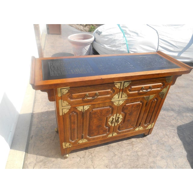 Awesome Vintage Bernhardt Chinese Burl Walnut Dry Bar / Server / Sideboard Buffet. This beautiful piece of furniture is...