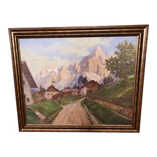 Mid 20th Century Landscape Oil Painting, Framed For Sale