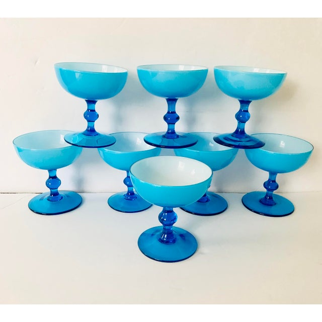 Vintage Carlo Moretti Turquoise Cased Glass Coupes - Set of 8 For Sale - Image 11 of 11