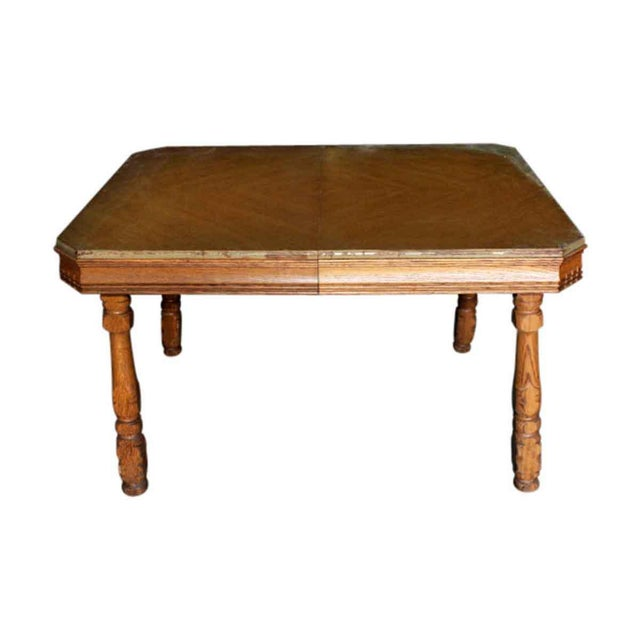 Early 20th Century 20th Century Traditional Square Oak Table For Sale - Image 5 of 5