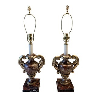 Hand Painted Italian Urn Lamps - a Pair For Sale