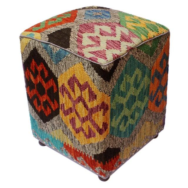 Textile Arshs Curt Black/Ivory Kilim Upholstered Handmade Ottoman For Sale - Image 7 of 8