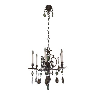 6-Arm Encased Gem and Iron Chandelier For Sale