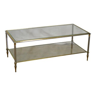 Directoire Style High Quality Brass Steel & Glass Coffee Table