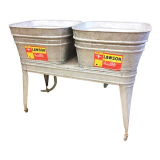 Vintage Lawson Country Galvanized Double Basin Wash Tub with Stand