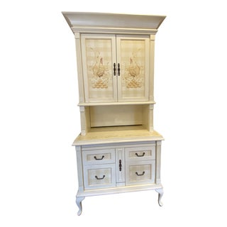 French Country Secretary or Cabinet With Hand Painted Front and Sides For Sale