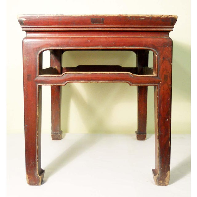 Elm Mid 19th Century Antique Ming Meditation Bench / Side Table For Sale - Image 7 of 11