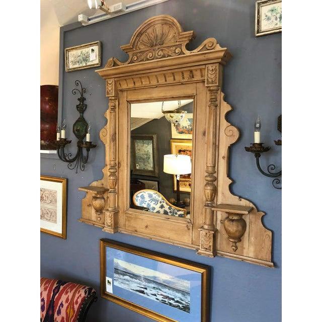 Vintage Swedish Natural Carved Wood Mirror For Sale - Image 4 of 13
