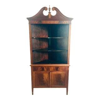 Flame Mahogany Corner China Cabinet For Sale