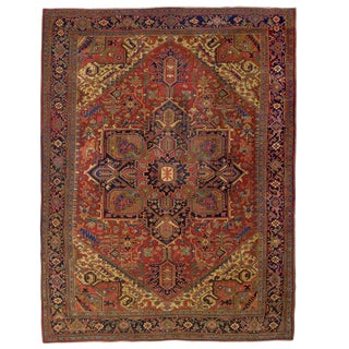 Semi-Antique Room Size Heriz Rug W/ Serapi Colors C. 1920, 13' X 9.5' For Sale