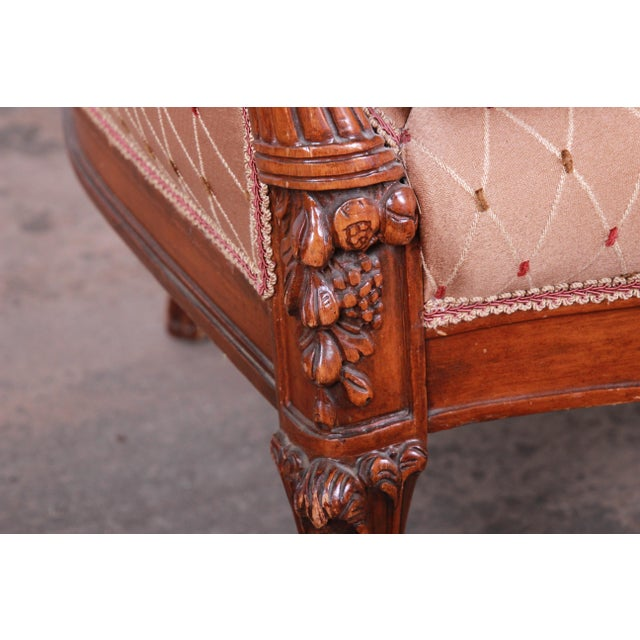Antique French Carved Wing Back Lounge Chair For Sale - Image 12 of 13