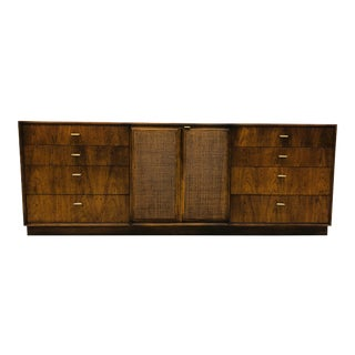 Mid-Century Modern Milo Baughman Burled Wood Cane Front Dresser For Sale