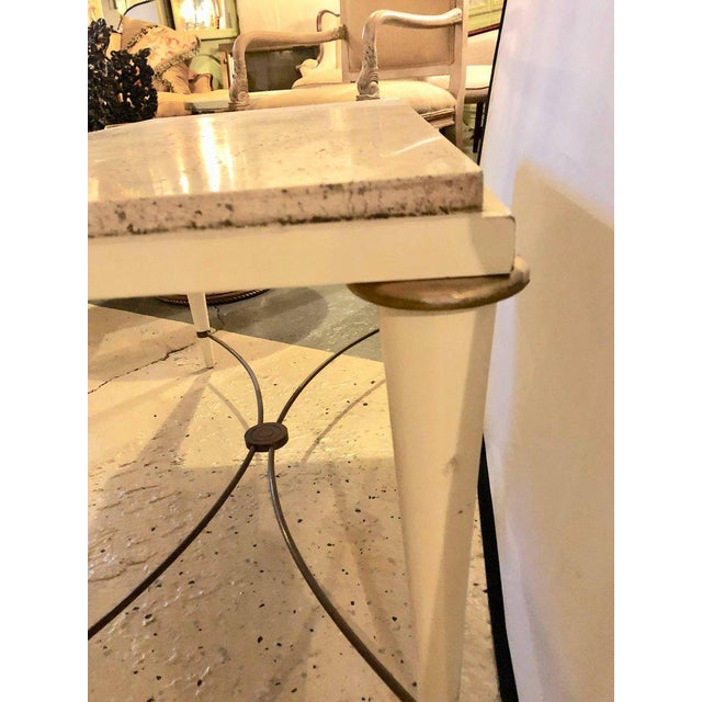 Mid-Century Modern Coffee Table Inset Travertine Marble-Top and Brass Stretcher For Sale - Image 9 of 11