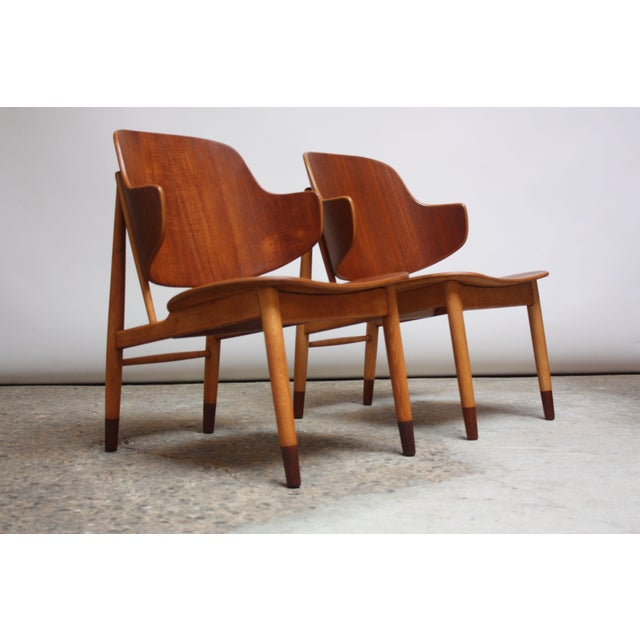 Ib Kofod-Larsen Danish Sculptural Shell Chairs in Teak and Beech - a Pair For Sale In New York - Image 6 of 13