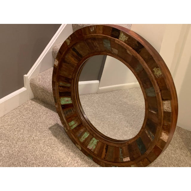 Wood Rustic Reclaimed Wood Round Mirror For Sale - Image 7 of 9