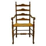 Image of Ethan Allen Antiqued Pine Old Tavern Ladder Back Dining Arm Chair For Sale