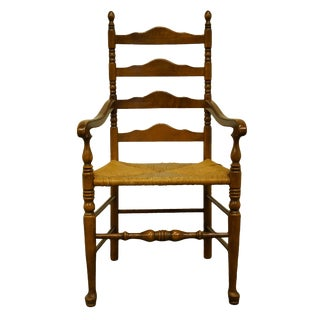Ethan Allen Antiqued Pine Old Tavern Ladder Back Dining Arm Chair For Sale