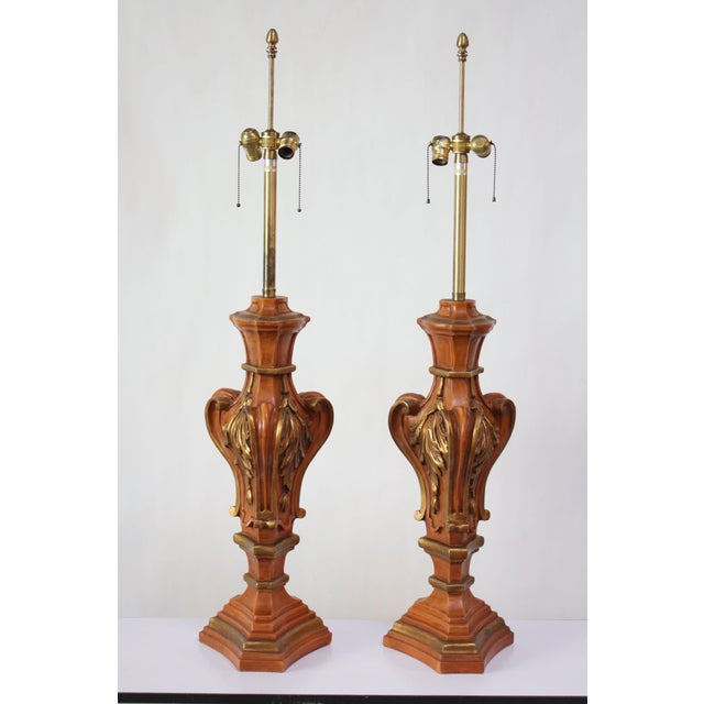 Pair of Oversized Hollywood Regency Carved and Gilded Table Lamps by Marbro For Sale - Image 13 of 13